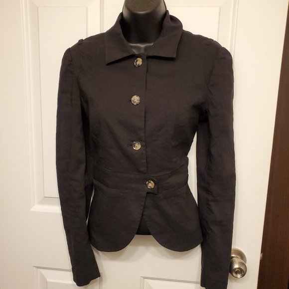 Theory Linen Button Up Black Fitted Blazer